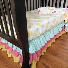tropical crib set for baby girl pineapple nursery bedding