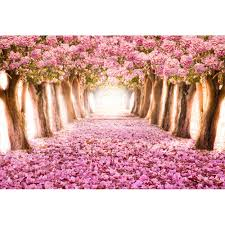 Cherry Blossom Backdrop Us 15 0 25 Off Pink Cherry Blossom Backdrops Photography Petals Covered Road Trees Princess Baby Girl Birthday Party Photo Booth Background In