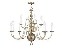 livex lighting williamsburg antique brass 12 light 32 wide chandelier 5014 01