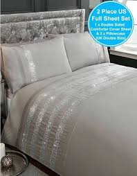 diamante grey silver double duvet cover set embellished bedding covers john lewis size