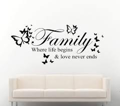 Family Where Life Begins Butterflies Wall Decal Sticker Wall