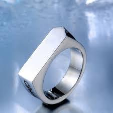 Men Womens <b>Simple Smooth</b> Square <b>Stainless</b> Steel Titanium <b>Ring</b> ...