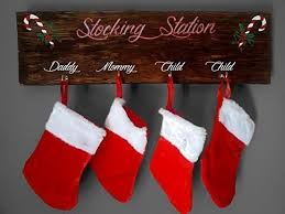 Stocking Station Wooden Plaque - Christmas Decor - Christmas Stockings -  Hand Painted Plaque - Stocking