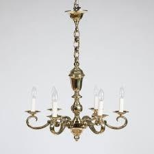 6 arm brass chandelier