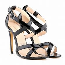 patent leather high heels sti simple sandals for women black womens shoes