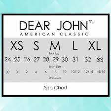 Size Charts For Dear John Denim All That Glitters Boutique