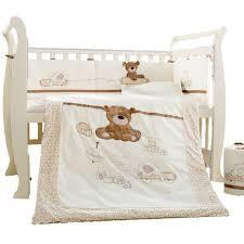 teddy bear crib sheet 7pcs cartoon cotton baby cot bedding set newborn cartoon bear crib