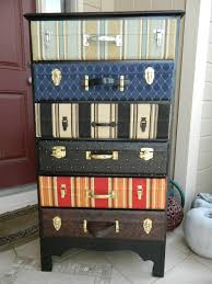 DIY suitcase dresser... Do with wall paper and suitcase hardwear, or cut