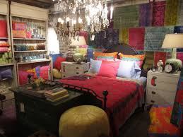bedroom: Merry Bohemian Style Bedroom With Colorful Pillow On Cute Single  Bed Side Nice Lighting