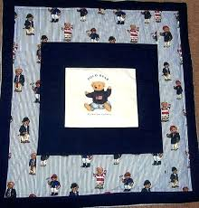ralph lauren baby bedding uk polo teddy bear blue and white stripe rare toddler nursery quilt