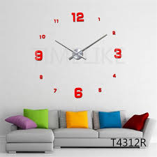 whole diy large wall clock living room decor 3d mirror wall stickers long clock hands unique wall mounted time clocks large wood wall clock large wood