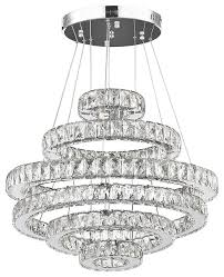 crystal elipse 6 ring modern contemporary led chandelier