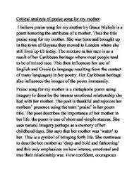 interpretive essay ethics analysis of poem praise song for my mother by grace nichols a