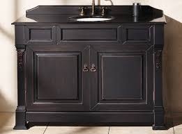 pretty 48 inch bathroom vanity in black with washstand and polished satin nickel faucet for bathroom