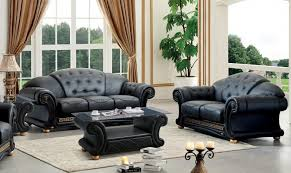 details about genuine leather sofa loveseat set 2pcs contemporary luxury esf apolo black