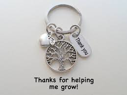 apple keychain. tree keychain appreciation gift, thank you charm with apple - thanks for helping i