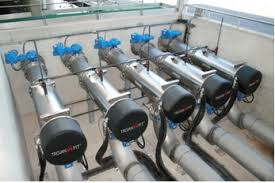 wastewater ultraviolet disinfection iwa publishing figure 8 trojan uv fit lpho closed pipe uv disinfection system torrevieja spain design is 60 000 m3 d total capacity treated wastewater