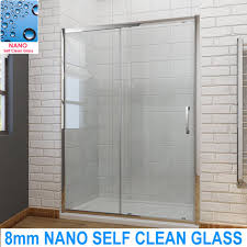 1200mm single sliding shower enclosure door cubicle 8mm self clean glass screen