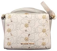 michael kors sofia small optic white leather cross bag