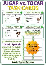 Jugar Verb Chart Jugar Vs Tocar Spanish Task Cards Vocabulary Flash