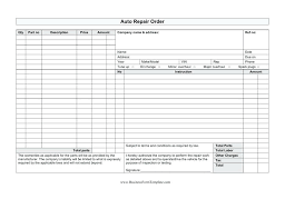 Shop Work Order Template Free Auto Repair Invoice Word
