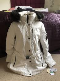 new las cream white michael kors mk faux fur hood belted jacket coat 12 14