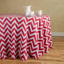 chevron round cotton tablecloth red white