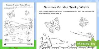 Phonics worksheets are a great way for young learners to practice phonics lessons. Summer Garden Phase 4 Tricky Words Phonics Worksheet