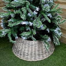 50cm x 28cm Large Willow Christmas Tree Skirt With A Grey Wash