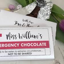 personalised teacher gift emergency chocolate