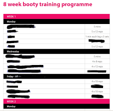 8 week booty training programme sneek peak