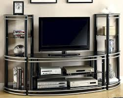 Tv Wall Unit Coaster Wall Units Black Silver Finish Curved Tv Stand Co 700722