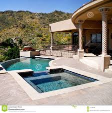 Image Above Ground Backyard Patio With Pool And Spa Dreamstimecom Backyard Patio With Pool And Spa Stock Photo Image Of Southwest