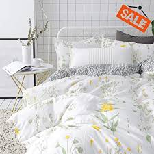 VCLIFE Floral Duvet Cover Sets Full Queen Bedding Sets White Yellow Flower Branches Design Bedding Duvet Cover Sets Cotton Comforter Cover Sets for ...
