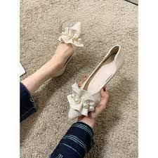 G344 Giày búp bê nữ mũi nhọn kiểu dáng mới lạ phối bèo đính hạt nổi bật giá  cạnh tranh