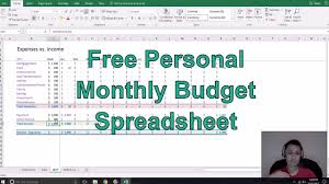 Personal Monthly Budget Spreadsheet Free Personal Monthly Budget Spreadsheet Youtube