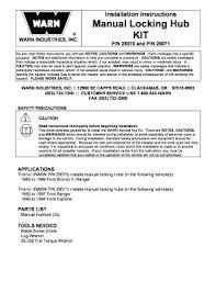 Warn Hub Application Chart Manual Locking Hub Kit 29071 Fill Online Printable