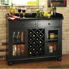 Worn Black Wine Bar Console Stemware Glasses Spirits Storage - Home liquor bar designs