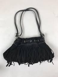 neiman marcus little black boho fringe purse suede leather magnetic clasp
