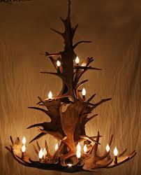 6750 close up of large moose antler chandelier