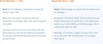 performance review comments use goals to increase performance clearcompany