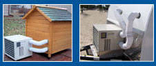 air conditioning dog house. with a heated dog house in the winter and an air conditioned summer, you can relax knowing this conditioner heater unit conditioning n