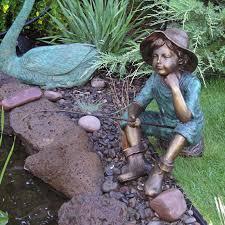 fish wish fisher boy cast garden statue