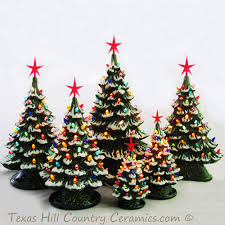 Retro Ceramic Christmas Tree Lighted Electric Tabletop Tree Lamp Ceramic Tabletop Christmas Tree With Lights