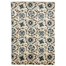 blue ikat rug 6 x 9 ivory ocean rectangle overhead view stripe green and west elm