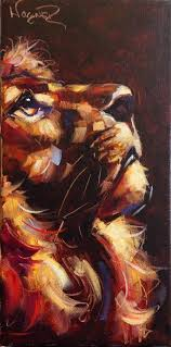 contemporary lion painting in oils by olga wagner original fine art by olga wagner