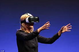 samsung virtual reality headset. samsung has also partnered with several game development firms to develop content for the gadget. virtual reality headset i