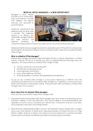 Medical Office Billing Manager Job Description Medical Officer