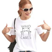 Who Cares <b>Funny Cat Shirt</b> | Vintage tee shirts, T shirts for women ...