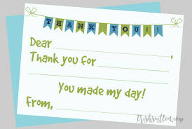 Blank Thank You Notes Fill In The Blank Printable Kids Thank You Notes 2 Color
